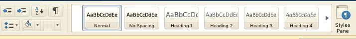 Screenshot of Microsoft Word styles menu
